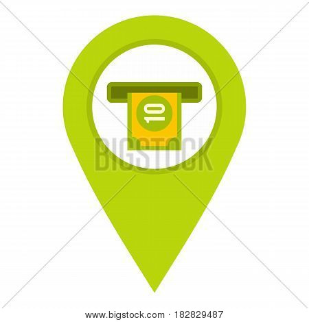 Green map pin pointer with ATM sign icon flat isolated on white background vector illustration
