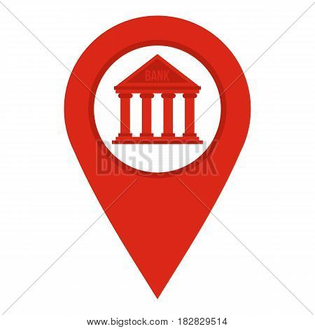 Red map pin icon flat isolated on white background vector illustration