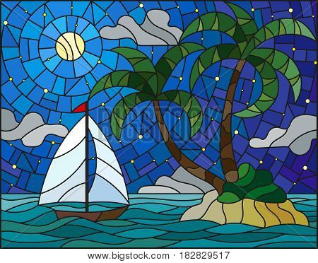 Illustration in stained glass style with the seascape tropical island with palm trees and a sailboat on a background of ocean moon and starry sky