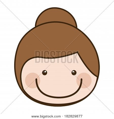 color silhouette cartoon front face girl with collected hair vector illustration