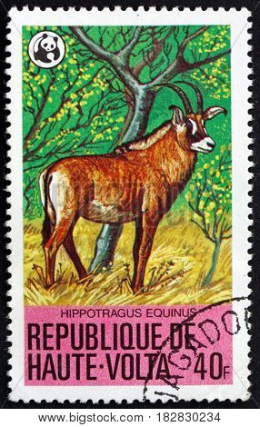 BURKINA FASO - CIRCA 1979: a stamp printed in Burkina Faso shows Roan Antelope Hippotragus Equinus is a Savanna Antelope circa 1979