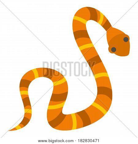 Orange striped snake icon flat isolated on white background vector illustration