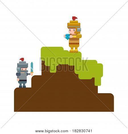 Pixelated scenery videogame vector illustration graphic icon