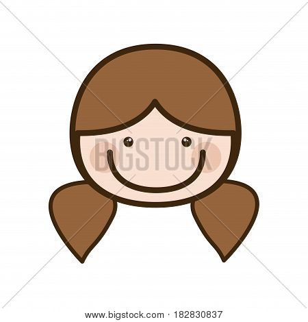 color silhouette cartoon front face woman with pigtails hair vector illustration