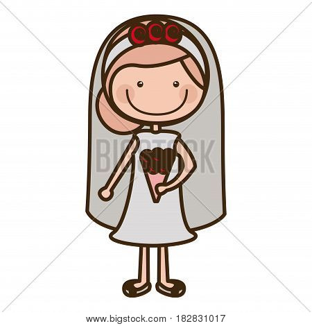 color silhouette cartoon woman in wedding dress with collected hairstyle vector illustration