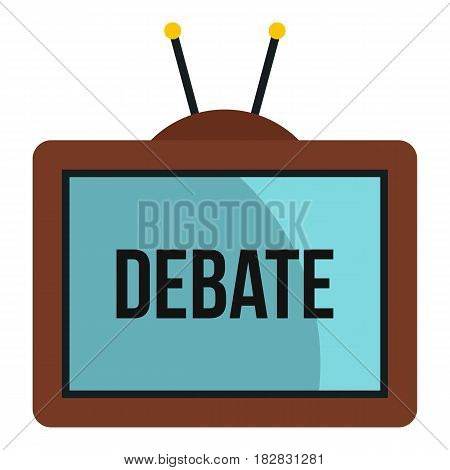 Retro TV with Debate word on the screen icon flat isolated on white background vector illustration