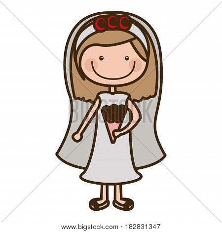 color silhouette cartoon woman in wedding dress with light brown hair vector illustration