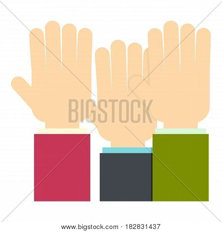 Businessmen hands up icon flat isolated on white background vector illustration
