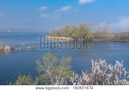 Seasonal landscape with Dnepr river near Dnepr city Ukraine