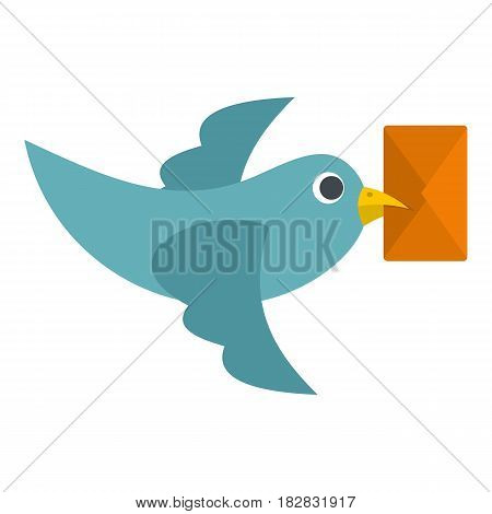 Dove carrying envelope icon flat isolated on white background vector illustration