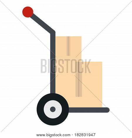 Hand cart with two cardboard boxes icon flat isolated on white background vector illustration