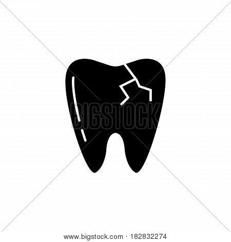 Cracked tooth solid icon, Dental and medicine, vector graphics, a filled pattern on a white background, eps 10.