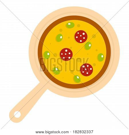 Pizza on round board icon flat isolated on white background vector illustration