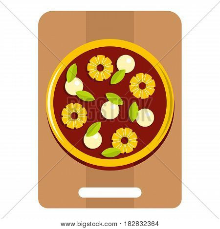 Pizza with ingredients on the wooden board icon flat isolated on white background vector illustration