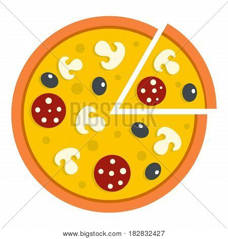 Pizza with mushrooms, salami and olives, lifted slice one icon flat isolated on white background vector illustration
