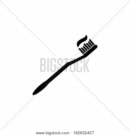 Toothbrush with paste solid icon, dental care and health, vector graphics, a filled pattern on a white background, eps 10.