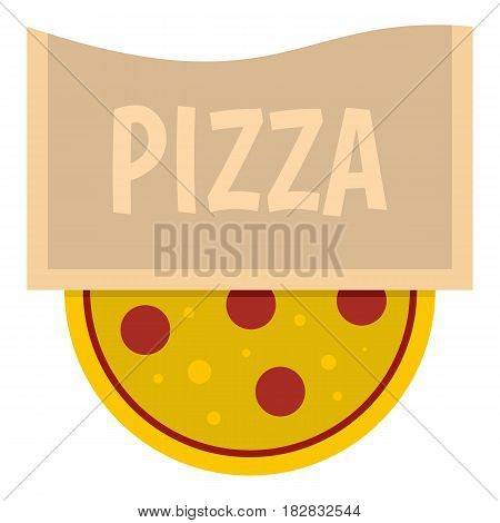 Pizza emblem for pizzeria icon flat isolated on white background vector illustration