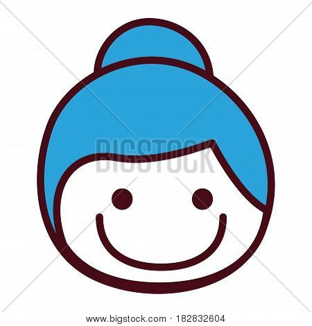 hand drawing silhouette front face girl with blue collected hair vector illustration
