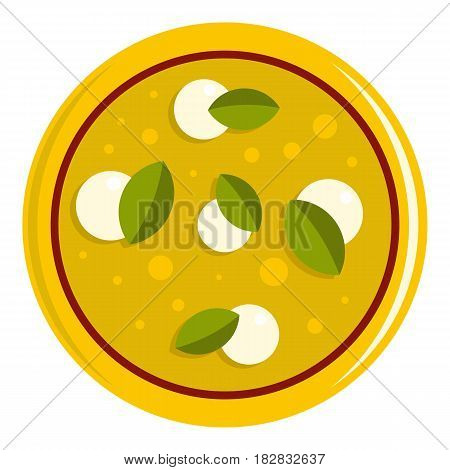 Pizza with cheese and basil icon flat isolated on white background vector illustration