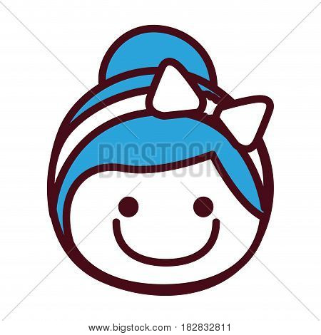 hand drawing silhouette front face girl with blue collected hairstyle and bow lace vector illustration