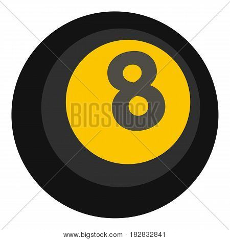 Black snooker eight pool icon flat isolated on white background vector illustration