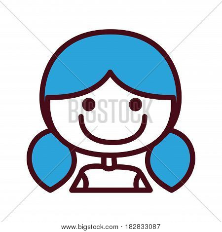 hand drawing silhouette half body girl with blue short pigtail hairstyle vector illustration