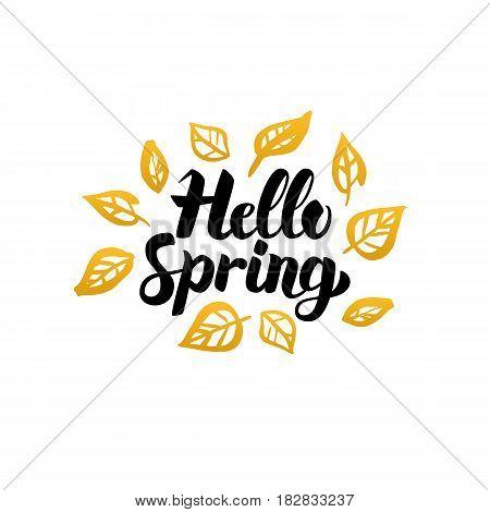 Hello Spring Gold Greeting Card. Vector Illustration of Nature Leaf Lettering with Golden Doodles.