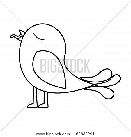 monochrome silhouette of bird with worm in the peak vector illustration