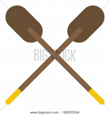 Two wooden crossed oars icon flat isolated on white background vector illustration