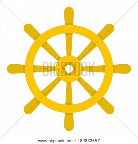 Wooden ship wheel icon flat isolated on white background vector illustration