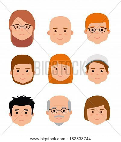 Avatar icons. People generations at different ages. Woman and man aging - baby, child, teenager, young, adult, old. Flat illustration