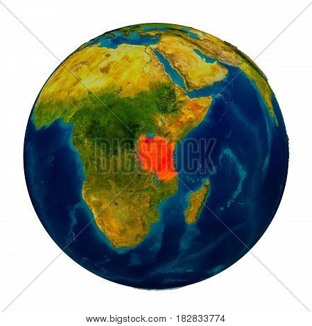 Tanzania Highlighted On Globe