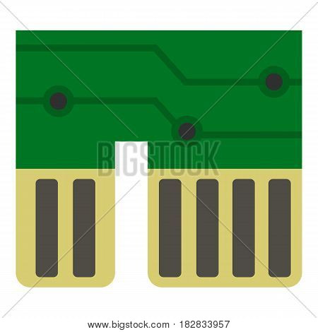 Computer chipset icon flat isolated on white background vector illustration