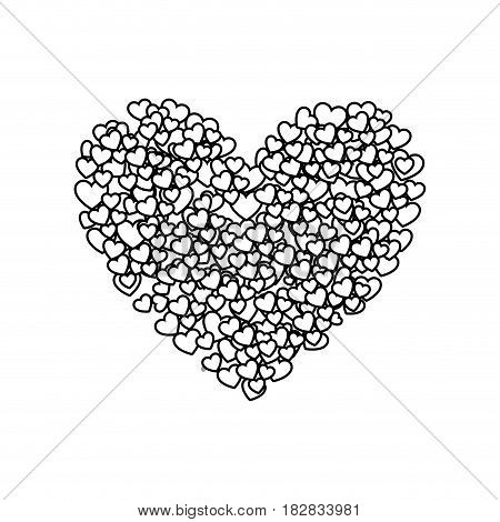 monochrome silhouette of many hearts forming a big heart vector illustration