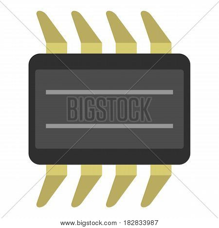 CPU icon flat isolated on white background vector illustration