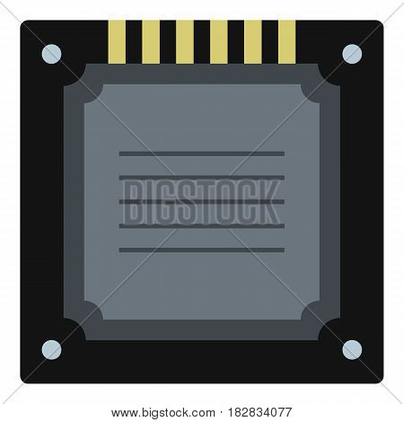 Modern multicore CPU icon flat isolated on white background vector illustration
