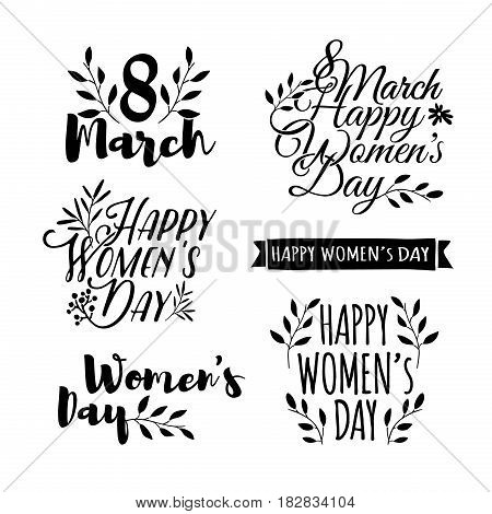 Set of monochrome logos to the International Women's Day. Signs, badges, titles for the Day on 8 March. The text for the greeting cards, posters, banners. Vector