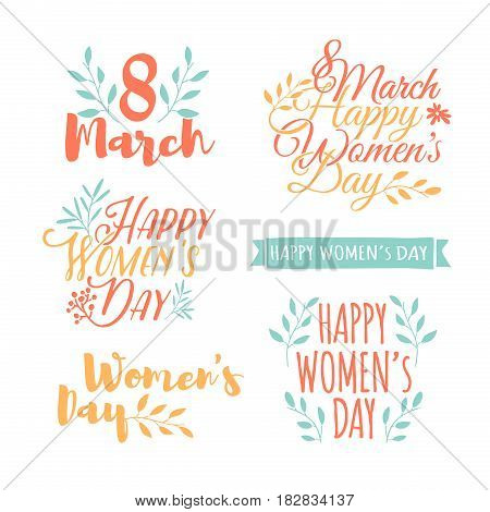 Set of pastel color logos to the International Women's Day. Signs, badges, titles for the Day on 8 March. The text for the greeting cards, posters, banners. Vector