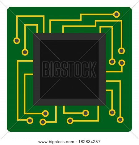 Microchip icon flat isolated on white background vector illustration
