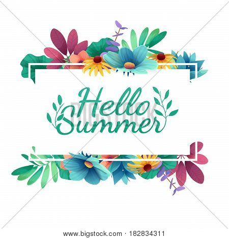 Design banner with Happy summer logo. Card for summer season with white frame and herb. Promotion offer with summer plants, leaves and flowers decoration.