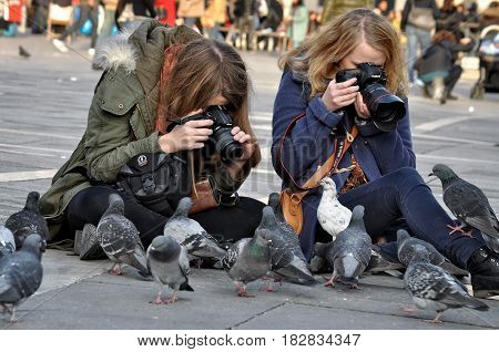 VENICE ITALY - NOVEMBER 26 2011: Unknown girls in the St. Mark's Square photographing pigeons.