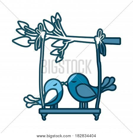 blue silhouette of tree branch with swing and couple of birds vector illustration