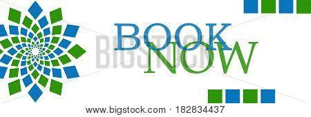Book now text written over green blue background.