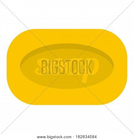 Yellow soap bar icon flat isolated on white background vector illustration