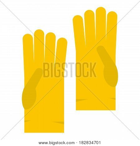 Yellow rubber gloves icon flat isolated on white background vector illustration