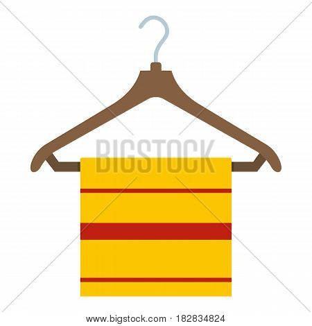 Yellow scarf on wooden coat hanger, icon flat isolated on white background vector illustration