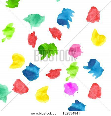 Raster pattern with colorred watercolors blobs on white background.