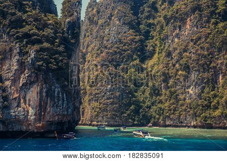 Cliff and the clear sea Phi Phi islands south of Thailand. Phi phi high rocks islands