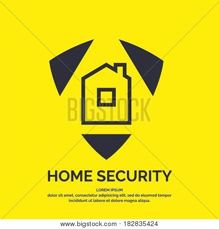 Modern minimalistic vector logo design for home security. Illustration of a shield with the building in a linear flat style on a yellow background