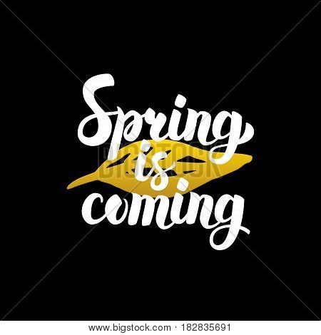 Spring is Coming Handwritten Calligraphy. Vector Illustration of Lettering Nature Design Element.